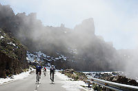 Riding up the snow covered Tiede with the clouds coming in<br /> <br /> Tenerife 2016