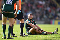Ellis Genge of Leicester Tigers looks on after suffering an injury. Aviva Premiership match, between Leicester Tigers and Northampton Saints on April 14, 2018 at Welford Road in Leicester, England. Photo by: Patrick Khachfe / JMP
