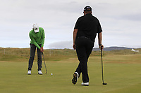 Shane Lowry (IRL) and Alexander Bjork (SWE) on the 16th during Round 3 of the Dubai Duty Free Irish Open at Ballyliffin Golf Club, Donegal on Saturday 7th July 2018.<br /> Picture:  Thos Caffrey / Golffile