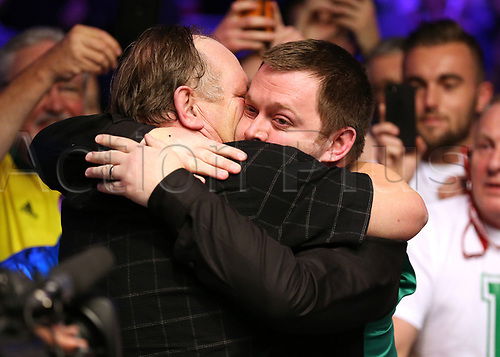 21st January 2018, Alexandra Palace, London, England; 2018 Dafabet Masters Final, Mark Allen versus Kyren Wilson; Mark Allen hugs his father after defeating Kyren Wilson 10-7 to become 2018 Masters Champion
