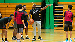 WATERBURY,  CT-080919JS07--Ta'Quan Zimmerman gives instruction to kids before their game during the final day of his Be A Baller Not A Bully basketball camp Friday at Wilby High School in Waterbury. <br /> Jim Shannon Republican-American