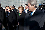 Brussels, Belgium -- February 23, 2018 -- Informal European Council, EU-summit, informal meeting of Heads of State / Government; here, Angela MERKEL (ce), Federal Chancellor of Germany, with Emmanuel MACRON (le), President of France, and Paolo GENTILONI (ri), Prime Minister of Italy; walking from European Commission's Headquarters 'Berlaymont' to opposite building of the Council of the EU -- Photo: © HorstWagner.eu