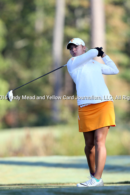 16 October 2016: Tennessee's Anna Newell. The Final Round of the 2016 Ruth's Chris Tar Heel Invitational NCAA Women's Golf Tournament hosted by the University of North Carolina Tar Heels was held at the UNC Finley Golf Club in Chapel Hill, North Carolina.