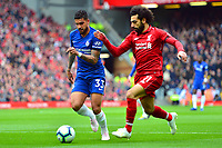 Chelsea's Emerson Palmieri vies for possession with Liverpool's Mohamed Salah<br /> <br /> Photographer Richard Martin-Roberts/CameraSport<br /> <br /> The Premier League - Liverpool v Chelsea - Sunday 14th April 2019 - Anfield - Liverpool<br /> <br /> World Copyright © 2019 CameraSport. All rights reserved. 43 Linden Ave. Countesthorpe. Leicester. England. LE8 5PG - Tel: +44 (0) 116 277 4147 - admin@camerasport.com - www.camerasport.com