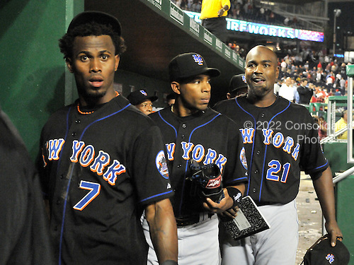 Washington, D.C. - September 16, 2008 -- New York Mets shortstop Jose Reyes (7), left, appears shocked as he leaves the dugout for the clubhouse following his team's 1 - 0 loss to the Washington Nationals at Nationals Park in Washington, D.C. on Tuesday, September 16, 2007.  Outfielder Endy Chavez (10), center, and first baseman Carlos Delgado (21), right, follow Reyes..Credit: Ron Sachs / CNP.(RESTRICTION: NO New York or New Jersey Newspapers or newspapers within a 75 mile radius of New York City)