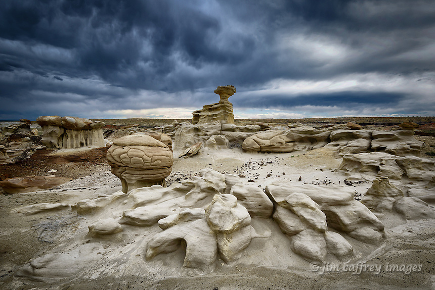 A strange eroded landscape in a small badlands along the edge of Ah Shi Sle Pah Wash in New Mexico's San Juan Basin