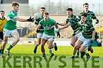 Conor Keane and Thomas Moriarty, Legion in action against Paul MacMahon, Saint Brendans during the Quarter finals of the Kerry Senior GAA Football Championship at Austin Stack Park on Saturday night.