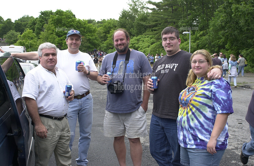 Friends gathing before The Dead in concert at Saratoga Performing Arts Center 20 June 2003