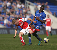 Oldham Athletic's Ousmane Fane wins the ball from Fleetwood Town's Kyle Dempsey<br /> <br /> Photographer Stephen White/CameraSport<br /> <br /> The EFL Sky Bet League One - Oldham Athletic v Fleetwood Town - Saturday 8th April 2017 - SportsDirect.com Park - Oldham<br /> <br /> World Copyright &copy; 2017 CameraSport. All rights reserved. 43 Linden Ave. Countesthorpe. Leicester. England. LE8 5PG - Tel: +44 (0) 116 277 4147 - admin@camerasport.com - www.camerasport.com