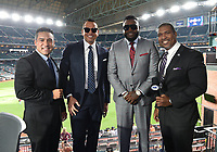 HOUSTON - OCTOBER 22: Rolando Nichols, Alex Rodriguez, David Ortiz, and Carlos Alvarez at World Series Game 1: Washington Nationals at Houston Astros on Fox Sports at Minute Maid Park on October 22, 2019 in Houston, Texas. (Photo by Frank Micelotta/Fox Sports/PictureGroup)