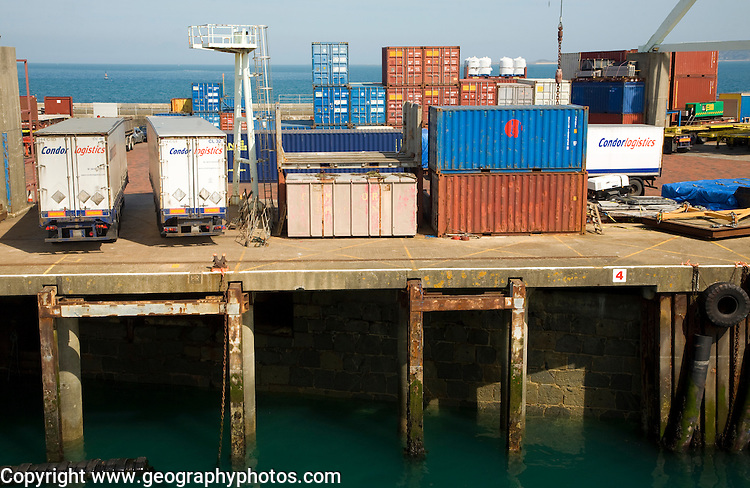 Containers on dock quayside, St Peter Port, Guernsey, Channel Islands, UK