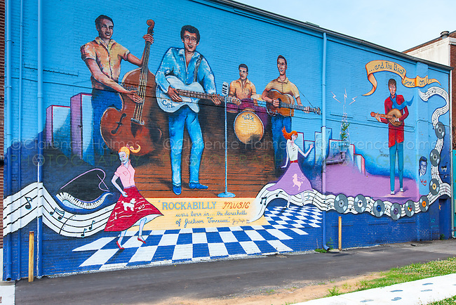 Mural depicting the creation of Rockabilly music at International Rock-a-billy Hall of Fame in Jackson, Tennessee.