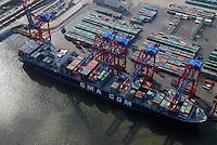 Container: EUROPA, DEUTSCHLAND, HAMBURG, (EUROPE, GERMANY), 10.03.2007: Container, Verladung, Containerverladung Predoehlkai Hamburger Hafen, HHLA Container Terminal Euro Kai, Elbe, Schiff, Seeschiff, Containerschiff, Logistik, Transport, Wirtschaft, Boom, Schatten, Elbe,  Aufwind-Luftbilder, CMA, CGM.c o p y r i g h t : A U F W I N D - L U F T B I L D E R . de.G e r t r u d - B a e u m e r - S t i e g 1 0 2, .2 1 0 3 5 H a m b u r g , G e r m a n y.P h o n e + 4 9 (0) 1 7 1 - 6 8 6 6 0 6 9 .E m a i l H w e i 1 @ a o l . c o m.w w w . a u f w i n d - l u f t b i l d e r . d e.K o n t o : P o s t b a n k H a m b u r g .B l z : 2 0 0 1 0 0 2 0 .K o n t o : 5 8 3 6 5 7 2 0 9.C o p y r i g h t n u r f u e r j o u r n a l i s t i s c h Z w e c k e, keine P e r s o e n l i c h ke i t s r e c h t e v o r h a n d e n, V e r o e f f e n t l i c h u n g  n u r  m i t  H o n o r a r  n a c h M F M, N a m e n s n e n n u n g  u n d B e l e g e x e m p l a r !.