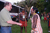 Altamira, Brazil. Encontro Xingu protest meeting about the proposed Belo Monte hydroeletric dam and other dams on the Xingu river and its tributaries. Professor Terry Turner talking to a Kayapo woman who is holding a machete.