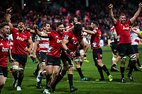 Matt Todd of the Crusaders reacts after kicking the ball into touch to bring the final whistle in the 2018 Super Rugby final between the Crusaders and Lions at AMI Stadium in Christchurch, New Zealand on Sunday, 29 July 2018. Photo: Joe Johnson / lintottphoto.co.nz