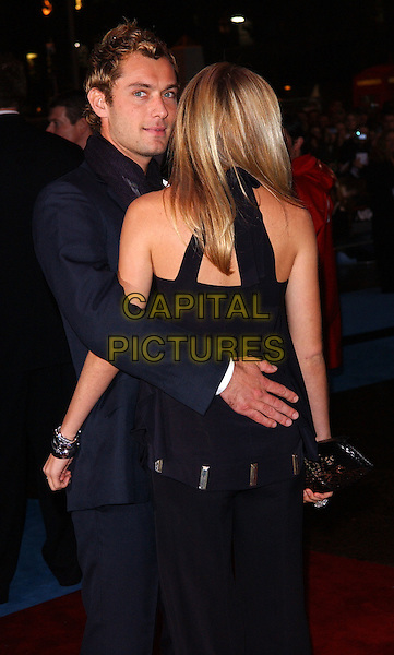 "SIENNA MILLER & JUDE LAW.""Alfie"" film premiere.Empire cinema, Leicester Square.14 October 2004..half length boyfriend girlfriend hugging.Ref: FIN.www.capitalpictures.com.sales@capitalpictures.com.©Steve Finn/Capital Pictures ."