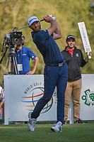 Dustin Johnson (USA) watches his tee shot on 18 during round 3 of the World Golf Championships, Mexico, Club De Golf Chapultepec, Mexico City, Mexico. 3/3/2018.<br /> Picture: Golffile | Ken Murray<br /> <br /> <br /> All photo usage must carry mandatory copyright credit (&copy; Golffile | Ken Murray)