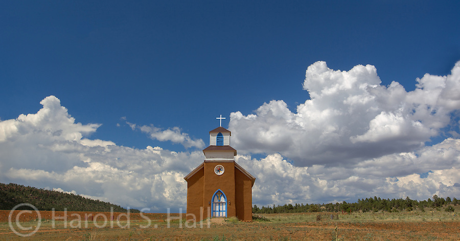 The San Rafael church in La Cueva, New Mexico is a restored Gothic style church.