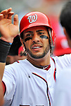 8 September 2011: Washington Nationals outfielder Michael Morse returns to the dugout after scoring Washington's third run during a game against the Los Angeles Dodgers at Nationals Park in Washington, DC. The Dodgers defeated the Nationals 7-4 to take the third game of their 4-game series. Mandatory Credit: Ed Wolfstein Photo
