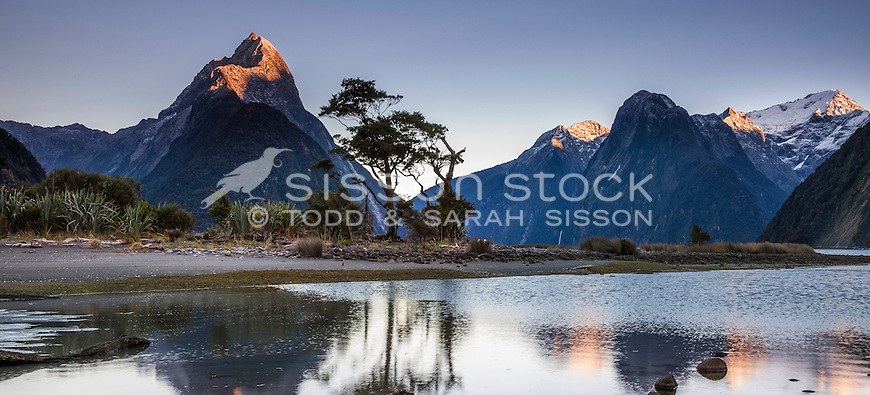 Last light on Mitre Peak in Milford Sound, FIordland, New Zealand - stock photo, canvas, fine art print