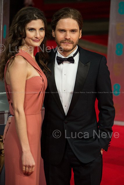 Daniel Bruhl (Actor, film: &quot;Rush&quot;) &amp; Felicitas Rombold (Model &amp; Daniel Bruhl girlfriend).<br /> <br /> London, 16/02/2014. Red Carpet of the 2014 EE BAFTA (British Academy of Film and Television Arts) Awards Ceremony, held at the Royal Opera House in London.