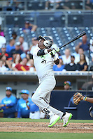 Jordan Anderson (21) of the East Team bats against the West Team during the Perfect Game All American Classic at Petco Park on August 14, 2016 in San Diego, California. West Team defeated the East Team, 13-0. (Larry Goren/Four Seam Images)