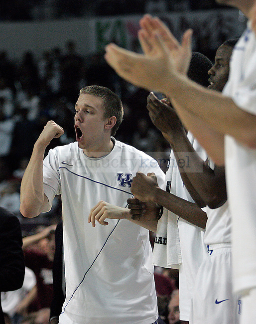 Freshman guard John Hood cheers on the UK men's basketball team in the second half of their 81-75 win over Mississippi State University in overtime at the Humphrey Coliseum in Starkville, Mississippi on Tuesday, Feb. 16, 2010