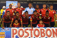 BARRANQUILLA - COLOMBIA -30-03-2014: Los jugadores de Universidad Autonoma posan para una foto durante partido Universidad Autonoma y Deportivo Cali por la fecha 13 de la Liga Postobon I 2014, jugado en el estadio Metropolitano Roberto Melendez de la ciudad de Barranquilla. / The players of Universidad Autonoma pose for a photo during a match between Universidad Autonoma and Deportivo Cali for the date 13th of the Liga Postobon I 2014 at the Metropolitano Roberto Melendez stadium in Barranquilla city. Photo: VizzorImage  / Alfonso Cervantes / Str.