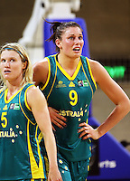 Australia's Jessica Bibby and Hollie Grima during the International women's basketball match between NZ Tall Ferns and Australian Opals at Te Rauparaha Stadium, Porirua, Wellington, New Zealand on Monday 31 August 2009. Photo: Dave Lintott / lintottphoto.co.nz