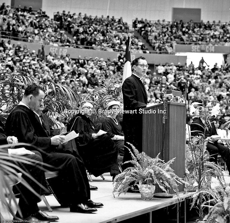 Pittsburgh PA:  View of Pastor Harold Albert of the First Lutheran Church speaking at the annual Easter Sunrise Services held at the Civic Arena - 1962.  The Council of Churches staged the event that included members of local Catholic, Presbyterian, Lutheran, Baptist and other denominations in the Pittsburgh Area.  This year the the roof was not opened due to weather.<br /> The Council of Churches was a merger of three local groups; Allegheny County Sabbath School Association, the Pittsburgh Council of Churches and the Council of Weekday Religious Education.  The council's objection was to better relate and understand other religions including the local Jewish, African American, Catholic and Christian churches in the downtown Pittsburgh area.