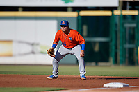 St. Lucie Mets first baseman Jeremy Vasquez (16) during a Florida State League game against the Bradenton Barbanegras on July 27, 2019 at LECOM Park in Bradenton, Florida.  Bradenton defeated St. Lucie 3-2.  (Mike Janes/Four Seam Images)