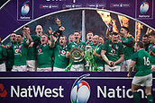17th March 2018, Twickenham, London, England; NatWest Six Nations rugby, England versus Ireland; Jonathan Sexton of Ireland and the rest of the Ireland Team celebrate winning the Grand Slam and Six Nations Champsionship