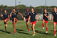 Piscataway, NJ - Saturday July 23, 2016: Washington Spirit players prior to a regular season National Women's Soccer League (NWSL) match between Sky Blue FC and the Washington Spirit at Yurcak Field.