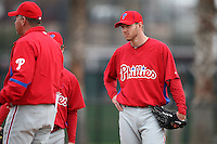 February 24, 2010:  Pitcher Roy Halladay (34) of the Philadelphia Phillies listens during instruction while practicing at the Carpenter Complex in Clearwater, FL.  Photo By Mike Janes/Four Seam Images