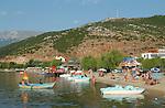 Tushemisht-Pogradec-Albania - August 02, 2004---Beach, boats and tourists at Lake Ohrid; region/village of project implementation by GTZ-Wiram-Albania (German Technical Cooperation, Deutsche Gesellschaft fuer Technische Zusammenarbeit (GTZ) GmbH); environment-landscape-tourism---Photo: Horst Wagner/eup-images
