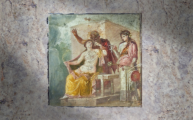 A Roman erotic fresco painting from Pompeii depicting Satyr caressing Hermaphrodite,  Naples National Archaeological  from the tablium of the Casa di Epidio Sabino, inv no 27875 , Secret Museum or Secret Cabinet,