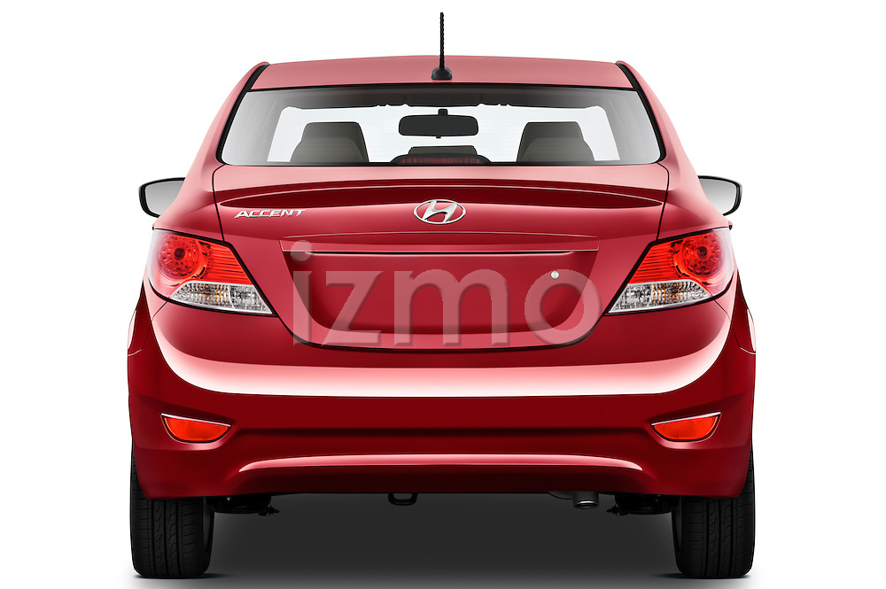 Straight rear view of a 2012 Hyundai Accent GLS Sedan