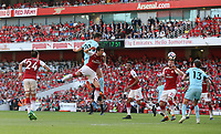 Burnley's Kevin Long with a second half header at goal<br /> <br /> Photographer Rob Newell/CameraSport<br /> <br /> The Premier League - Arsenal v Burnley - Sunday 6th May 2018 - The Emirates - London<br /> <br /> World Copyright &not;&copy; 2018 CameraSport. All rights reserved. 43 Linden Ave. Countesthorpe. Leicester. England. LE8 5PG - Tel: +44 (0) 116 277 4147 - admin@camerasport.com - www.camerasport.com