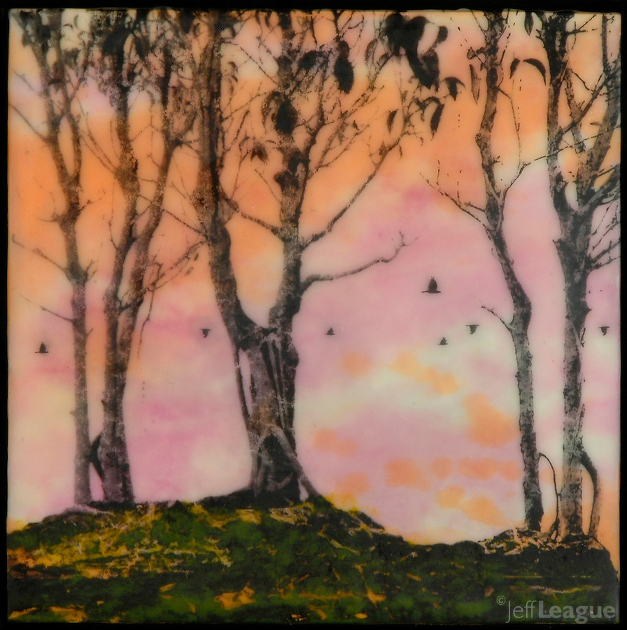 Encaustic photography mixed media painting with trees and birds in orange and pink.