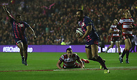 Stade Francais Paris Geoffrey Doumayrou scores his sides third try during todays game<br /> <br /> Photographer Rachel Holborn/CameraSport<br /> <br /> European Rugby Challenge Cup Final - Gloucester Rugby v Stade Francais Paris - Friday 12th May 2017 - BT Murrayfield, Edinburgh<br /> <br /> World Copyright &copy; 2017 CameraSport. All rights reserved. 43 Linden Ave. Countesthorpe. Leicester. England. LE8 5PG - Tel: +44 (0) 116 277 4147 - admin@camerasport.com - www.camerasport.com