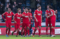 Celebrations as Jay Simpson (left) of Leyton Orient opens the scoring during the Sky Bet League 2 match between Wycombe Wanderers and Leyton Orient at Adams Park, High Wycombe, England on 23 January 2016. Photo by Andy Rowland / PRiME Media Images.