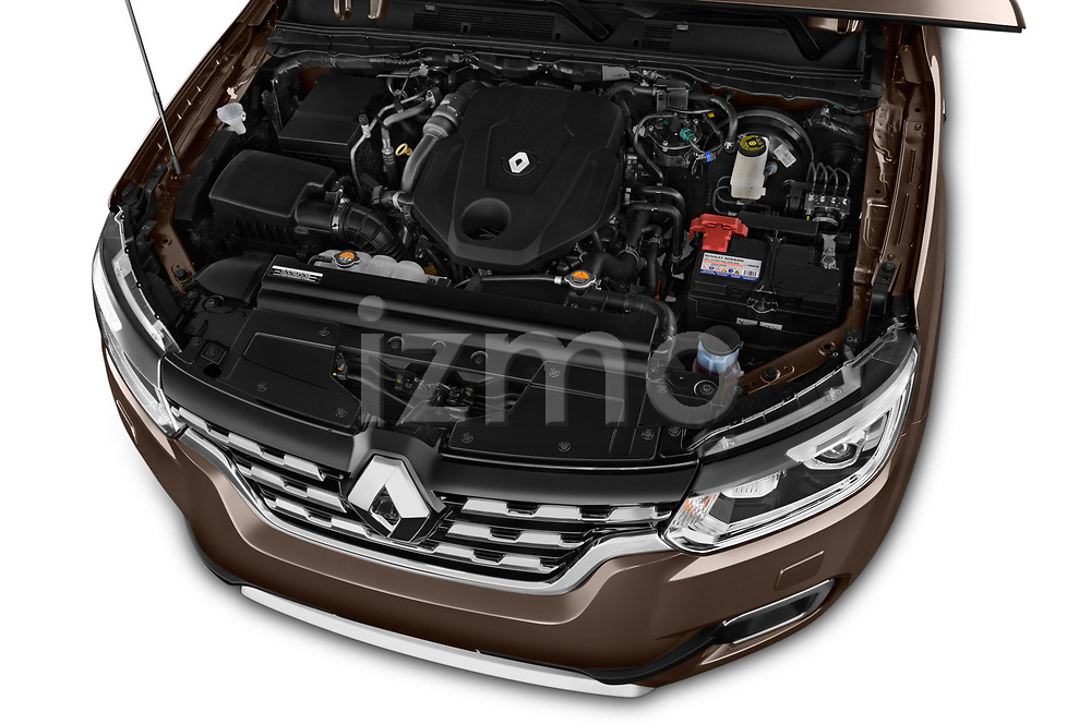 Car stock 2018 Renault Alaskan Denali 4 Door Pick Up engine high angle detail view