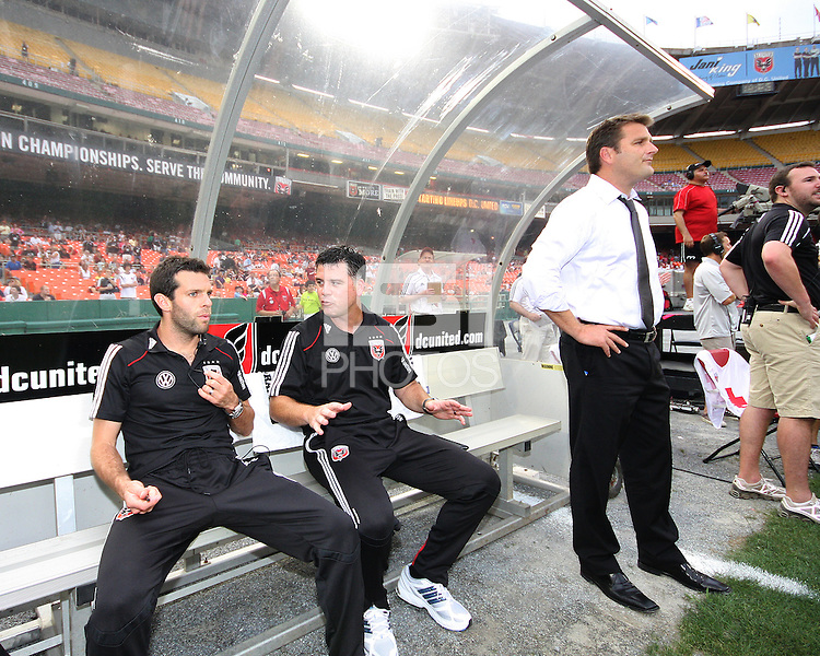 Ben Olsen, Kris Kelderman and Curt Onalfo coaches of D.C. United during an MLS match against Real Salt Lake at RFK Stadium, on June 5 2010 in Washington DC. The game ended in a 0-0 tie.