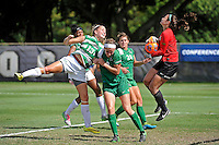 8 November 2015:  Marshall Goalkeeper Lizzie Kish (1) records a save despite the efforts of North Texas Defender Hailey Hadden (13) to head the ball into the goal over Marshall Defender/Midfielder Taylor Fleming (18) following a corner kick in the second half as the University of North Texas Mean Green defeated the Marshall University Thundering Herd, 1-0, in the Conference USA championship game at University Park Stadium in Miami, Florida.