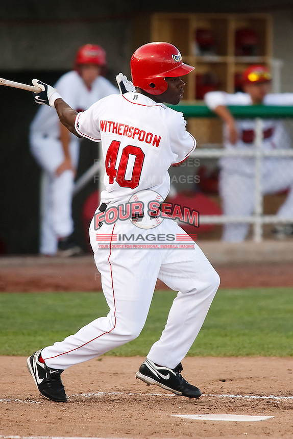 July 10, 2009: Travis Witherspoon 2009 12th round draft pick of the Orem Owlz, Rookie Class-A affiliate of the Los Angeles Angels of Anaheim, during a game at the Orem Owlz Ballpark in Orem, UT. Photo by: Matthew Sauk/Four Seam Images