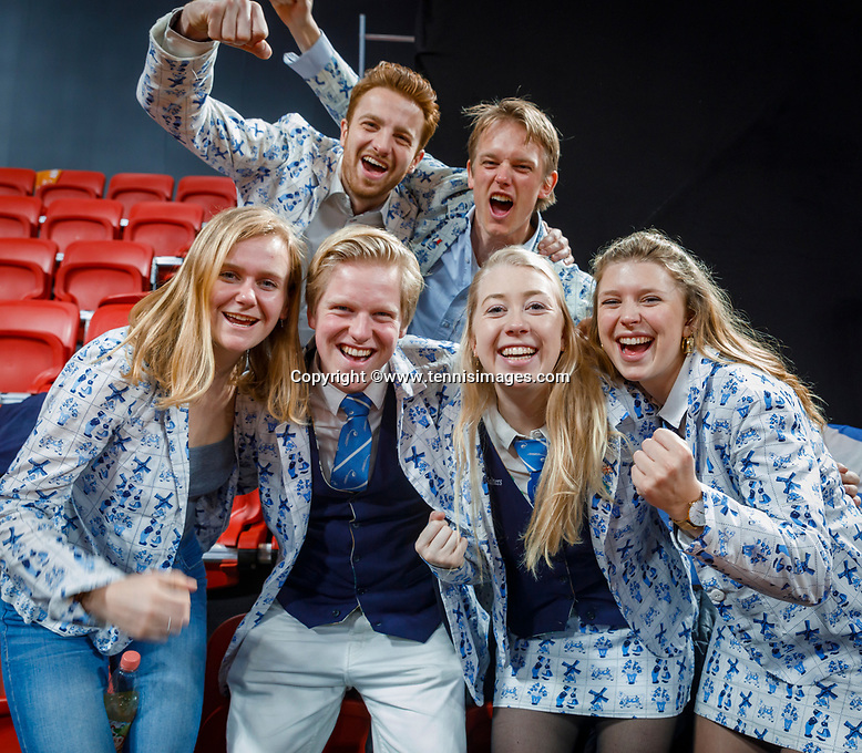 The Hague, The Netherlands, Februari 8, 2020,    Sportcampus, FedCup  Netherlands -  Balarus, Dutch supportrrs in Delft blue clothes<br /> Photo: Tennisimages/Henk Koster