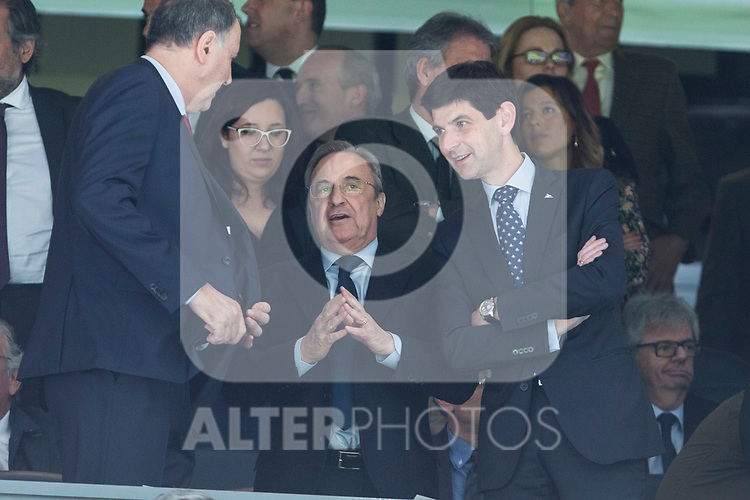 Florentino Perez president of Real Madrid during the match of  La Liga between Real Madrid and Deportivo Alaves at Bernabeu Stadium Stadium  in Madrid, Spain. April 02, 2017. (ALTERPHOTOS / Rodrigo Jimenez)