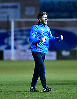 Lincoln City's assistant manager Nicky Cowley celebrates at the end of the game<br /> <br /> Photographer Andrew Vaughan/CameraSport<br /> <br /> Vanarama National League - Lincoln City v Chester - Tuesday 11th April 2017 - Sincil Bank - Lincoln<br /> <br /> World Copyright &copy; 2017 CameraSport. All rights reserved. 43 Linden Ave. Countesthorpe. Leicester. England. LE8 5PG - Tel: +44 (0) 116 277 4147 - admin@camerasport.com - www.camerasport.com