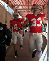 November 22, 2008. Ohio State defensive players Kurt Coleman (4) and James Laurinaitis (33) head out to the field for the start of the second half. The Ohio State Buckeyes defeated the Michigan Wolverines 42-7 on November 22, 2008 at Ohio Stadium, Columbus, Ohio.