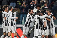 Calcio, quarti di finale di Tim Cup: Juventus vs Milan. Torino, Juventus Stadium, 25 gennaio 2017.<br /> Juventus' Miralem Pjanic, third from right, celebrates with teammates after scoring on a free kick during the Italian Cup quarter finals football match between Juventus and AC Milan at Turin's Juventus stadium, 25 January 2017.<br /> UPDATE IMAGES PRESS/Manuela Viganti